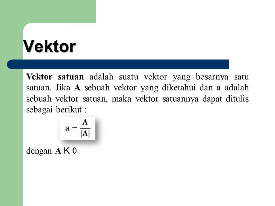 Vektor Vektor satuan adalah suatu vektor yang besarnya satu satuan. Jika A sebuah vektor yang diketahui dan a adalah sebuah vektor satuan, maka vektor