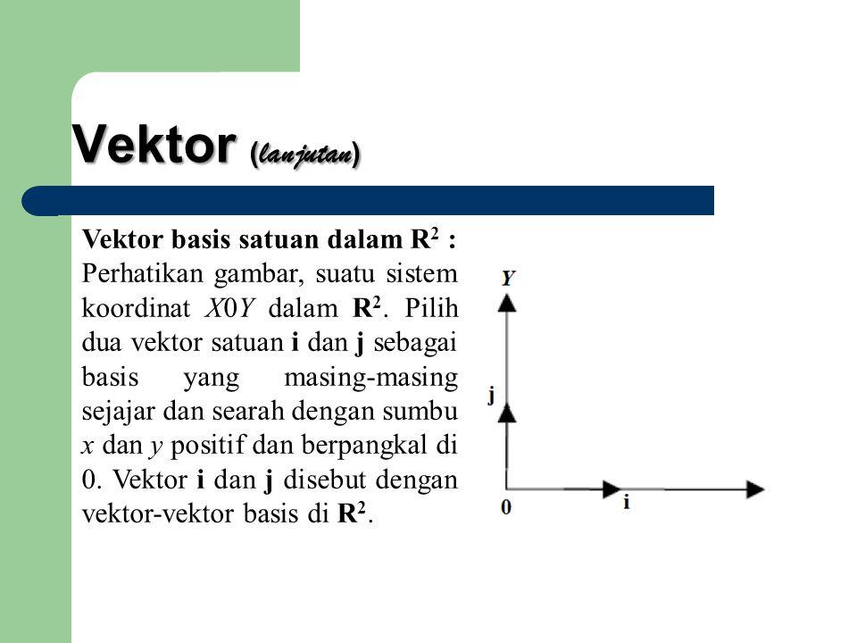 Vektor ( lanjutan ) Vektor basis satuan dalam R 2 : Perhatikan gambar, suatu sistem koordinat X0Y dalam R 2. Pilih dua vektor satuan i dan j sebagai b
