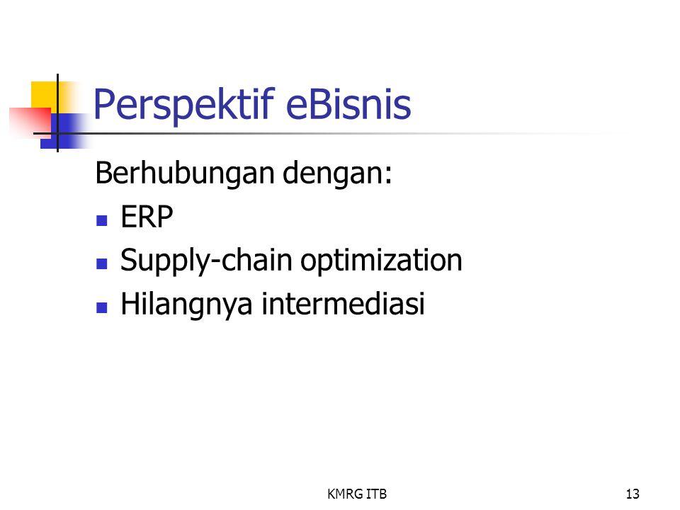 KMRG ITB13 Perspektif eBisnis Berhubungan dengan: ERP Supply-chain optimization Hilangnya intermediasi