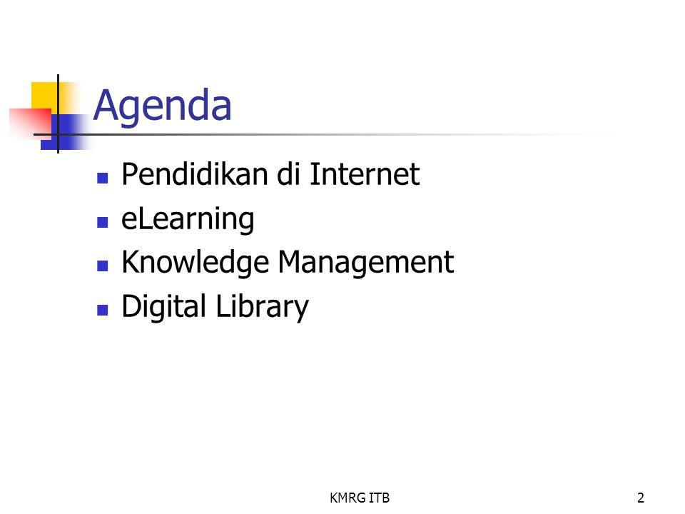KMRG ITB2 Agenda Pendidikan di Internet eLearning Knowledge Management Digital Library
