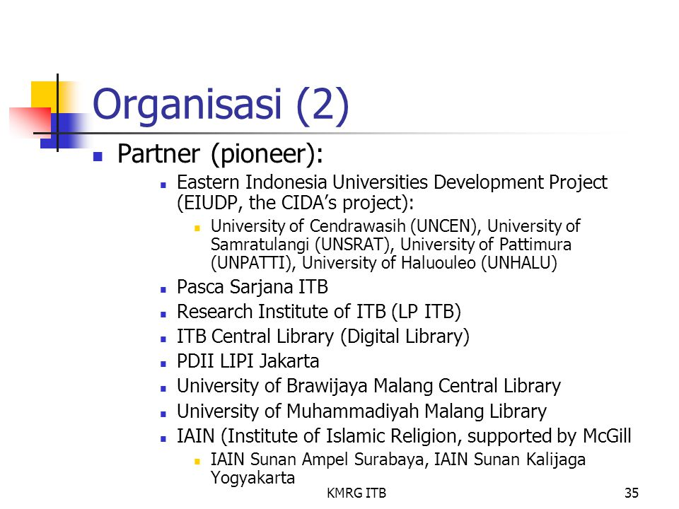 KMRG ITB35 Organisasi (2) Partner (pioneer): Eastern Indonesia Universities Development Project (EIUDP, the CIDA's project): University of Cendrawasih