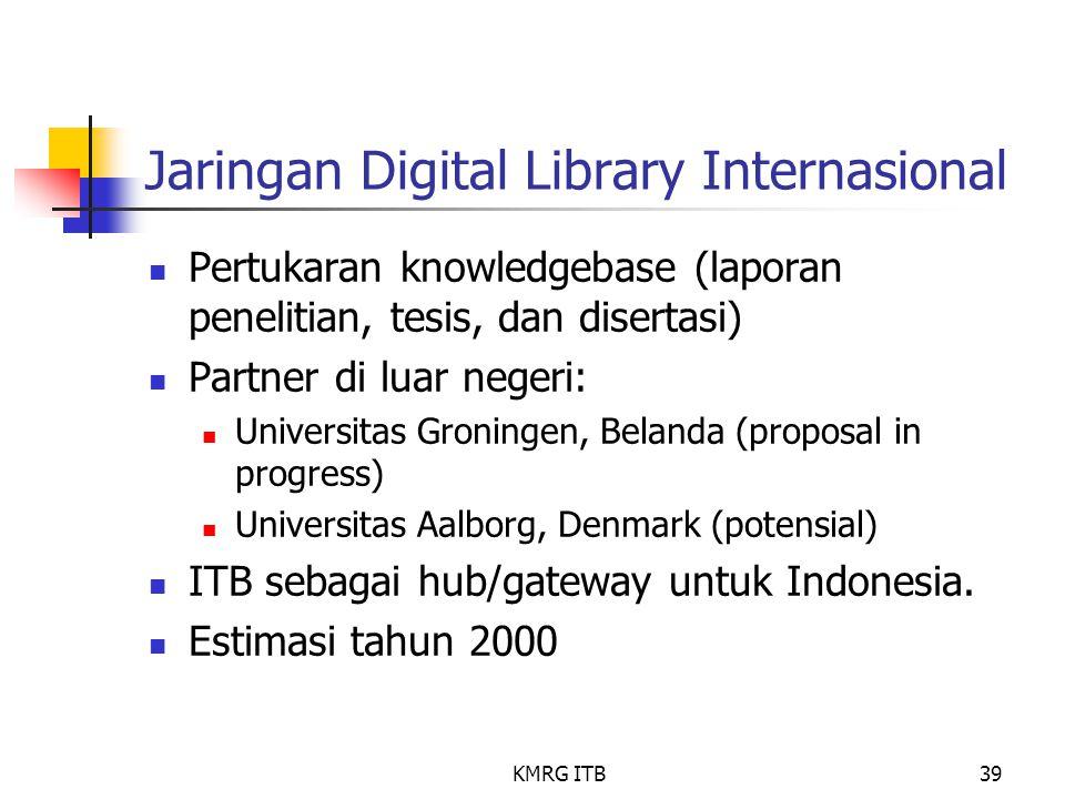 KMRG ITB39 Jaringan Digital Library Internasional Pertukaran knowledgebase (laporan penelitian, tesis, dan disertasi) Partner di luar negeri: Universi