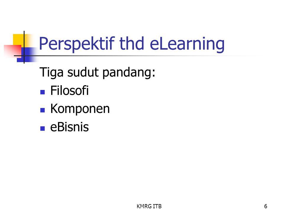 KMRG ITB6 Perspektif thd eLearning Tiga sudut pandang: Filosofi Komponen eBisnis