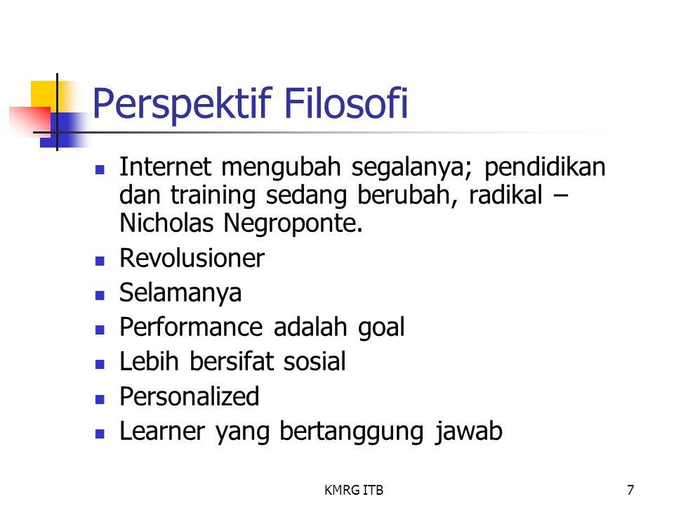 KMRG ITB7 Perspektif Filosofi Internet mengubah segalanya; pendidikan dan training sedang berubah, radikal – Nicholas Negroponte. Revolusioner Selaman