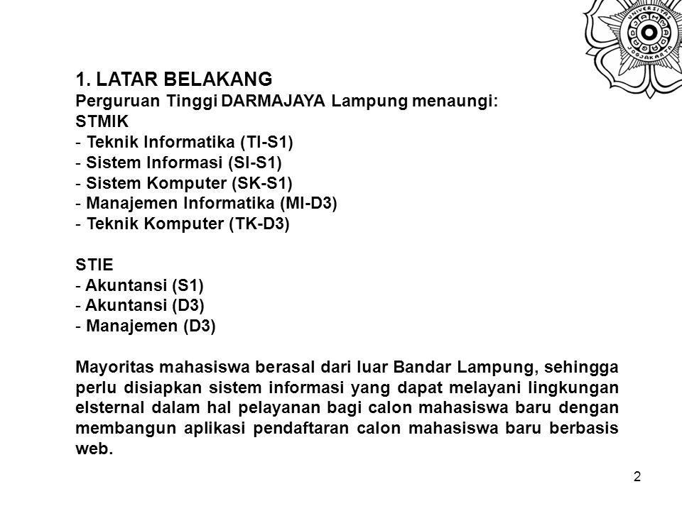 2 1. LATAR BELAKANG Perguruan Tinggi DARMAJAYA Lampung menaungi: STMIK - Teknik Informatika (TI-S1) - Sistem Informasi (SI-S1) - Sistem Komputer (SK-S