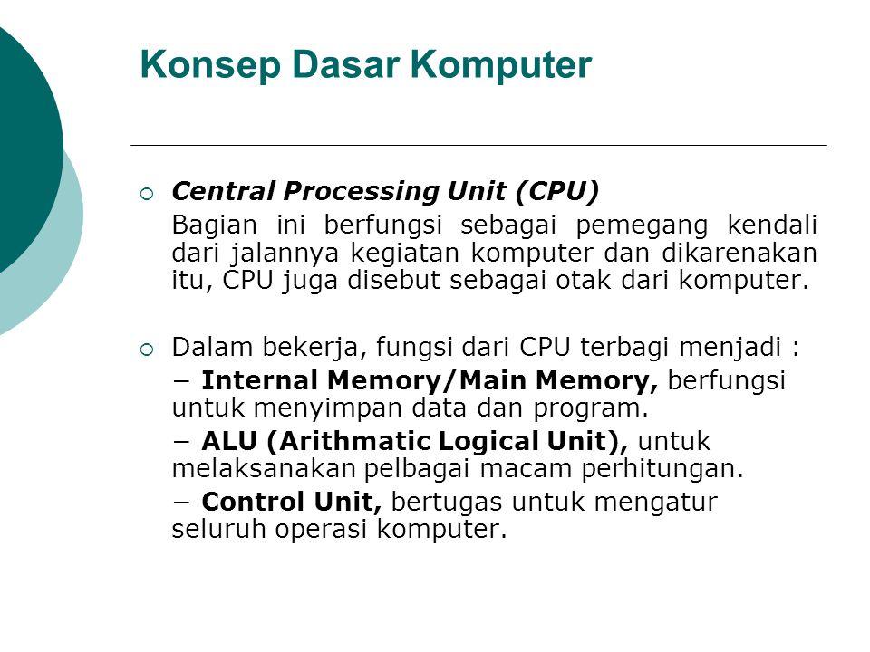 Konsep Dasar Komputer  Central Processing Unit (CPU) Bagian ini berfungsi sebagai pemegang kendali dari jalannya kegiatan komputer dan dikarenakan it