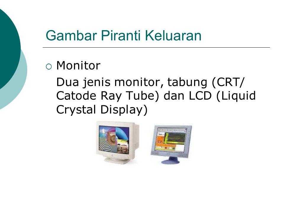 Gambar Piranti Keluaran  Monitor Dua jenis monitor, tabung (CRT/ Catode Ray Tube) dan LCD (Liquid Crystal Display)