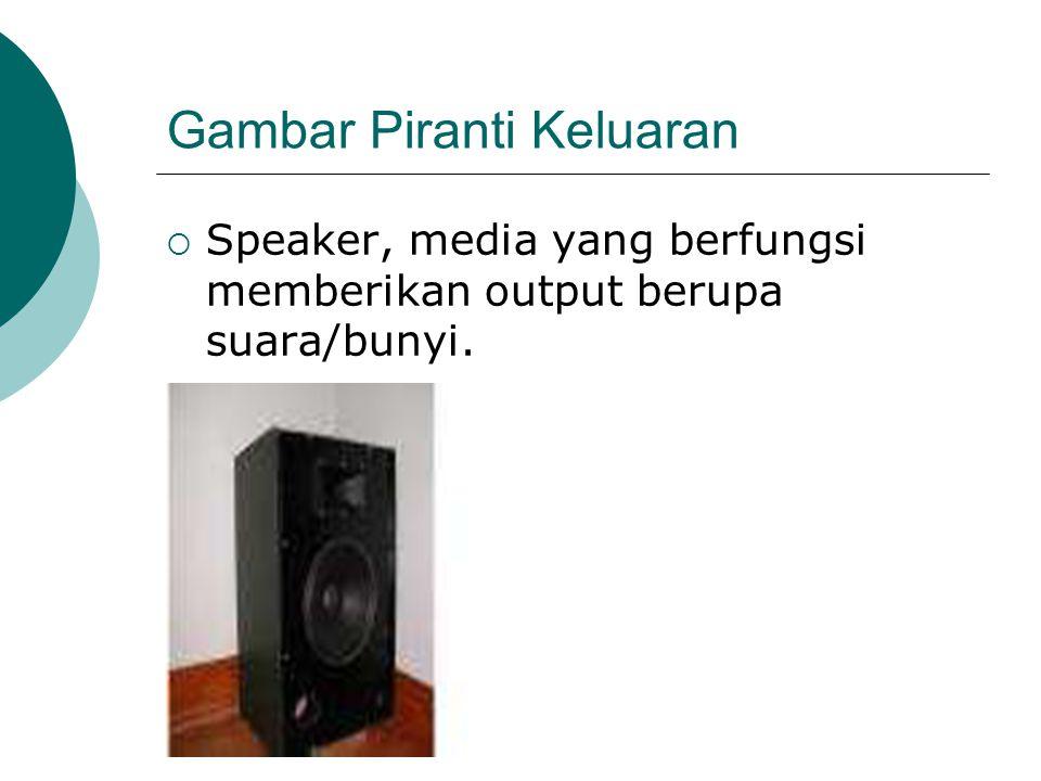 Gambar Piranti Keluaran  Speaker, media yang berfungsi memberikan output berupa suara/bunyi.