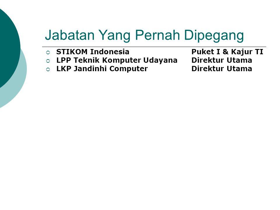 Jabatan Yang Pernah Dipegang  STIKOM IndonesiaPuket I & Kajur TI  LPP Teknik Komputer UdayanaDirektur Utama  LKP Jandinhi ComputerDirektur Utama
