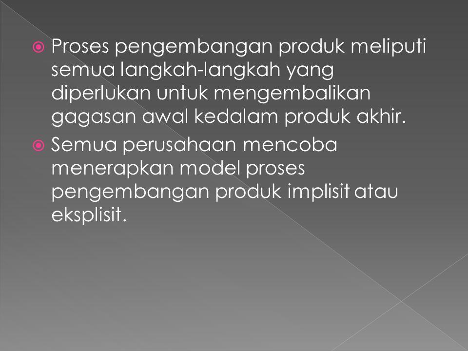  Proses pengembangan produk meliputi semua langkah-langkah yang diperlukan untuk mengembalikan gagasan awal kedalam produk akhir.  Semua perusahaan