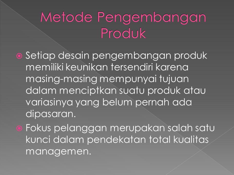  Setiap desain pengembangan produk memiliki keunikan tersendiri karena masing-masing mempunyai tujuan dalam menciptkan suatu produk atau variasinya y