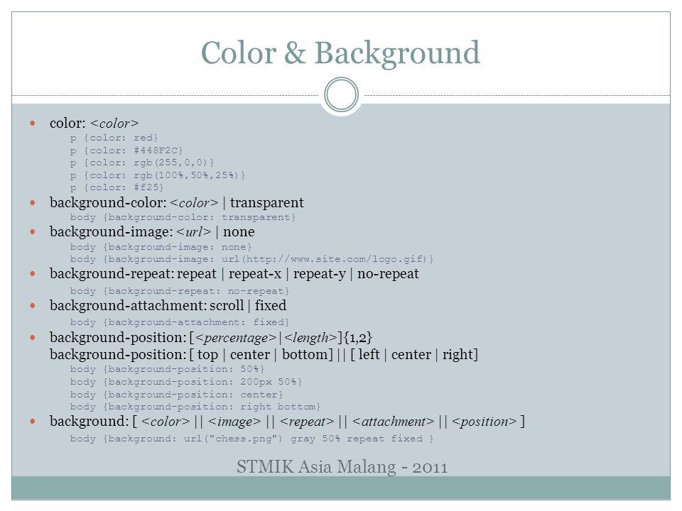 Color & Background color: p {color: red} p {color: #448F2C} p {color: rgb(255,0,0)} p {color: rgb(100%,50%,25%)} p {color: #f25} background-color: | t