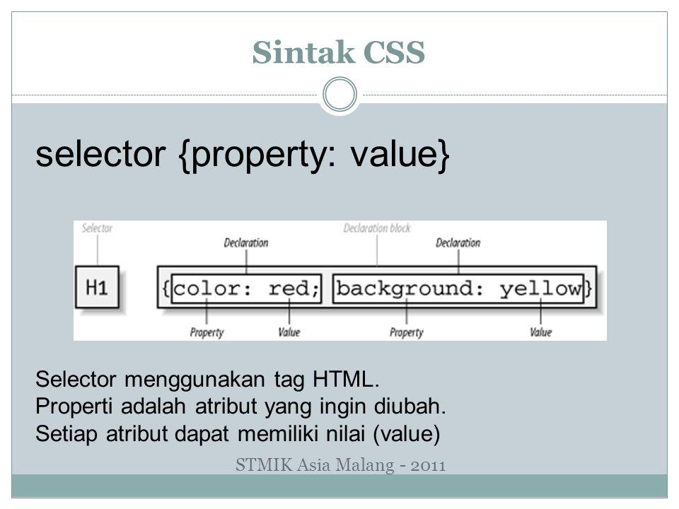 Sintak CSS selector {property: value} Selector menggunakan tag HTML. Properti adalah atribut yang ingin diubah. Setiap atribut dapat memiliki nilai (v