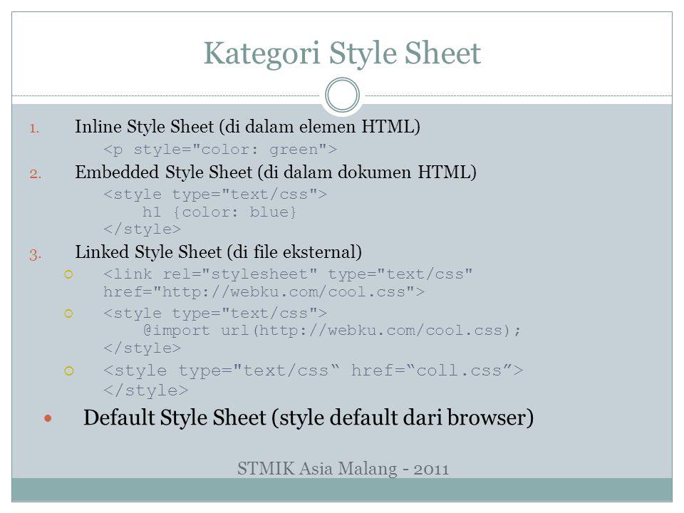 Kategori Style Sheet 1. Inline Style Sheet (di dalam elemen HTML) 2. Embedded Style Sheet (di dalam dokumen HTML) h1 {color: blue} 3. Linked Style She