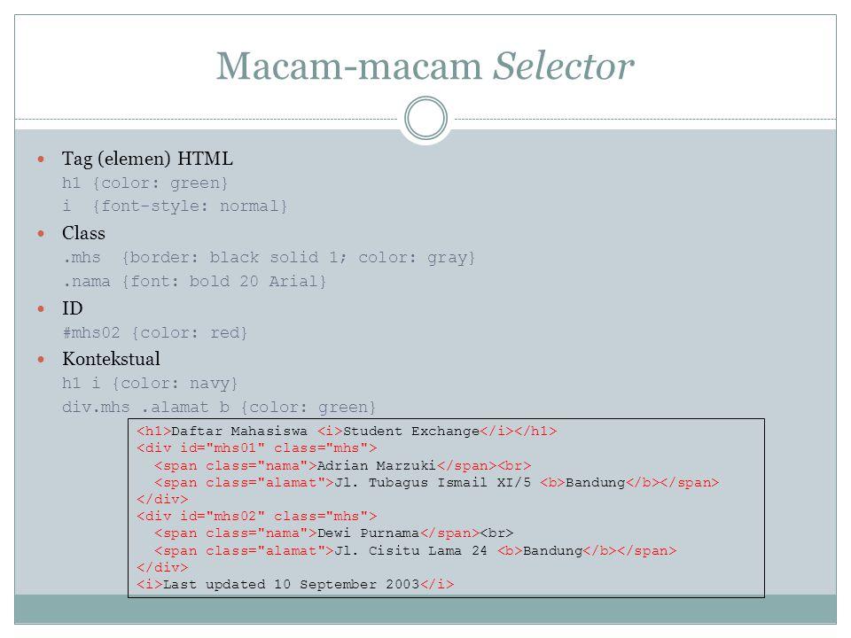 Macam-macam Selector Tag (elemen) HTML h1 {color: green} i {font-style: normal} Class.mhs {border: black solid 1; color: gray}.nama {font: bold 20 Ari