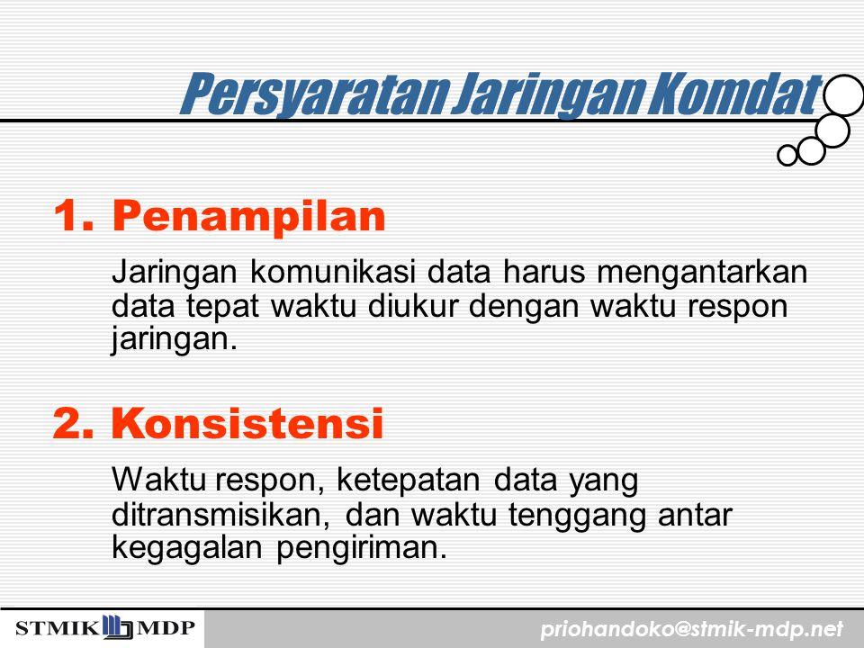 priohandoko@stmik-mdp.net Persyaratan Jaringan Komdat 1.Penampilan Jaringan komunikasi data harus mengantarkan data tepat waktu diukur dengan waktu re