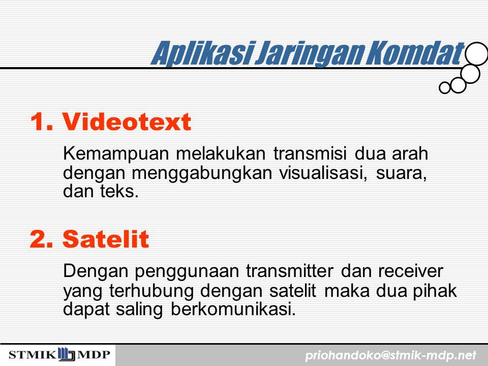 priohandoko@stmik-mdp.net Aplikasi Jaringan Komdat 1. Videotext Kemampuan melakukan transmisi dua arah dengan menggabungkan visualisasi, suara, dan te