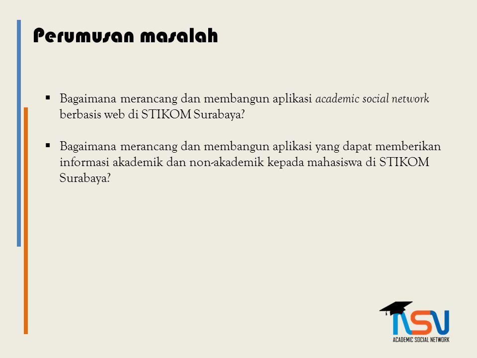 Perumusan masalah  Bagaimana merancang dan membangun aplikasi academic social network berbasis web di STIKOM Surabaya?  Bagaimana merancang dan memb