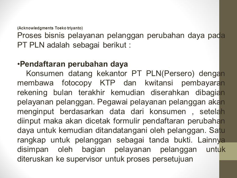 (Acknowledgments Toeko triyanto) Proses bisnis pelayanan pelanggan perubahan daya pada PT PLN adalah sebagai berikut : Pendaftaran perubahan daya Kons