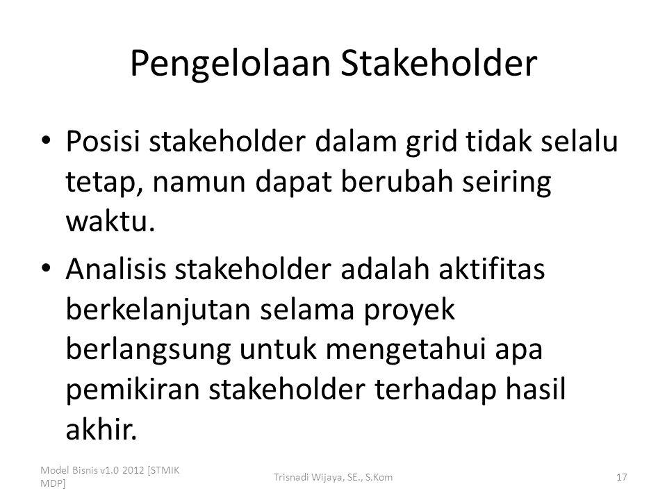 Pengelolaan Stakeholder Posisi stakeholder dalam grid tidak selalu tetap, namun dapat berubah seiring waktu. Analisis stakeholder adalah aktifitas ber