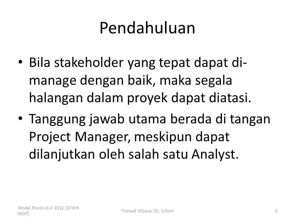 Pendahuluan Bila stakeholder yang tepat dapat di- manage dengan baik, maka segala halangan dalam proyek dapat diatasi. Tanggung jawab utama berada di
