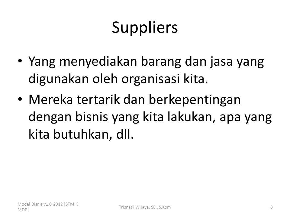 Suppliers Yang menyediakan barang dan jasa yang digunakan oleh organisasi kita. Mereka tertarik dan berkepentingan dengan bisnis yang kita lakukan, ap
