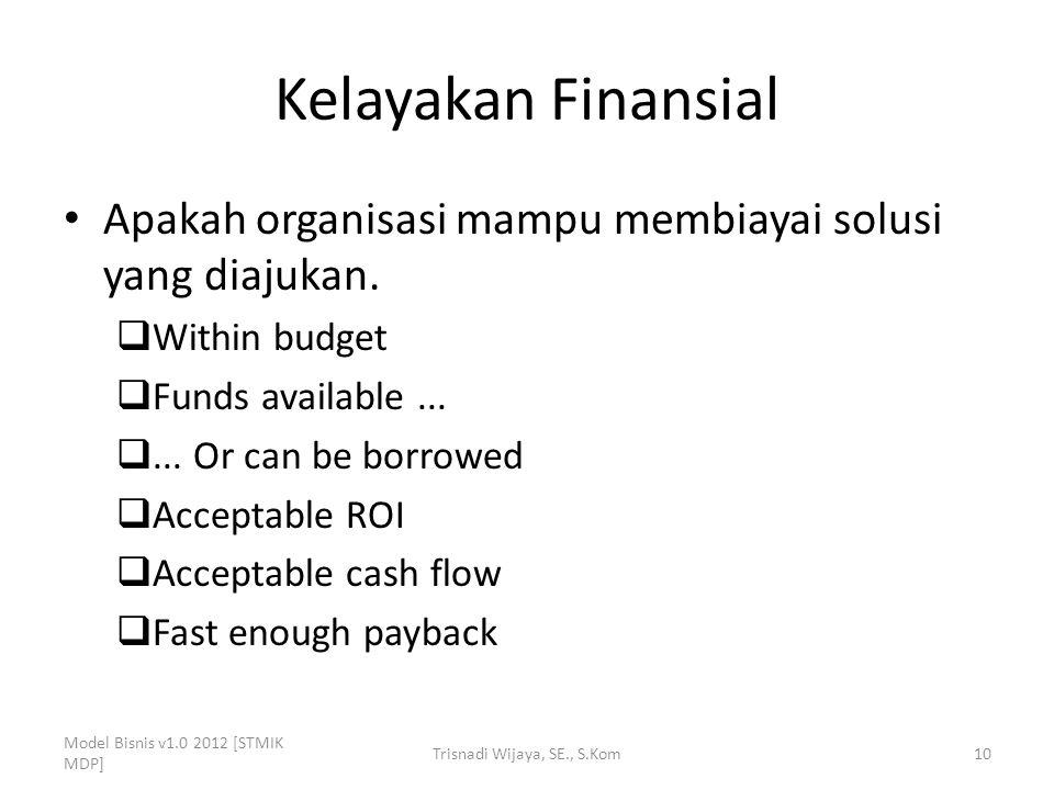 Kelayakan Finansial Apakah organisasi mampu membiayai solusi yang diajukan.  Within budget  Funds available... ... Or can be borrowed  Acceptable