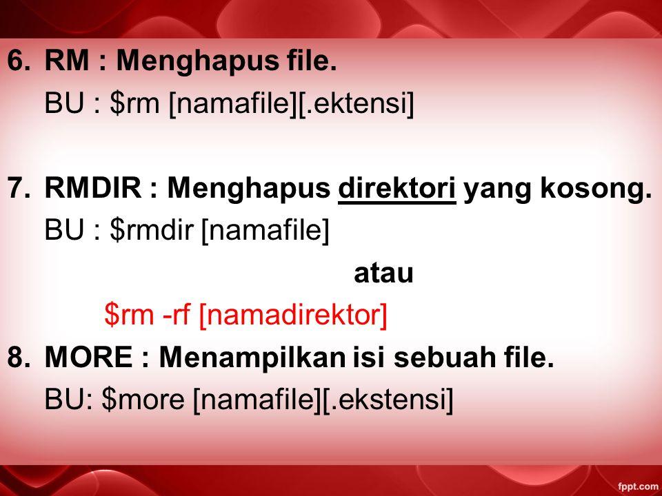 4.CP : Menyalin file atau copy. BU : $cp 5.MV : Memindahkan file dari satu lokasi ke lokasi lain, cut atau rename file. BU : $mv /[direktori]/[file]/[