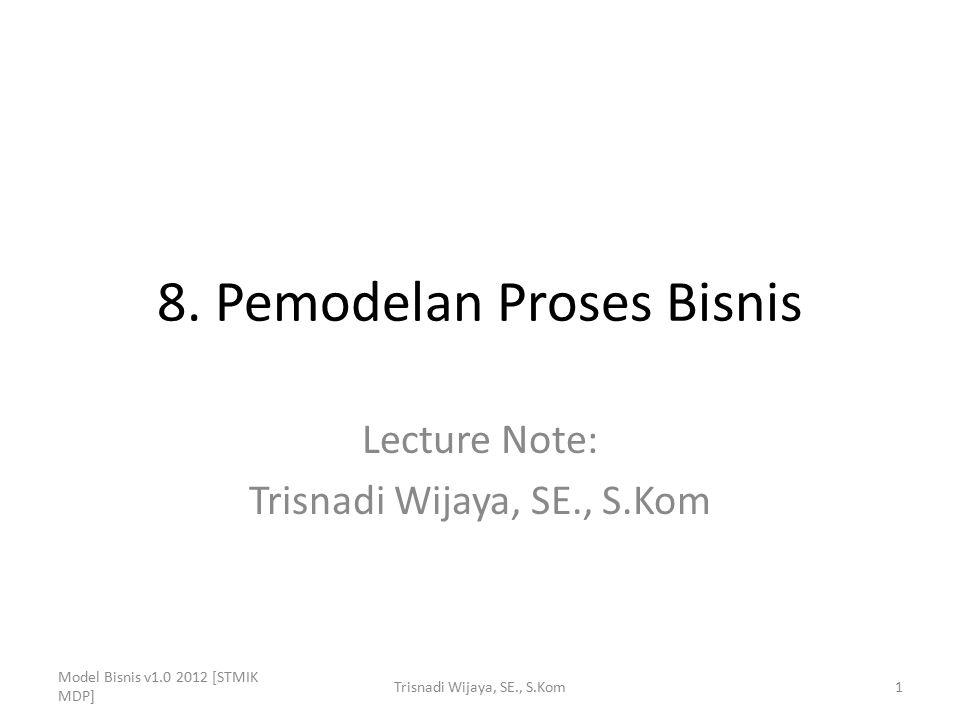 8. Pemodelan Proses Bisnis Lecture Note: Trisnadi Wijaya, SE., S.Kom Model Bisnis v1.0 2012 [STMIK MDP] 1Trisnadi Wijaya, SE., S.Kom
