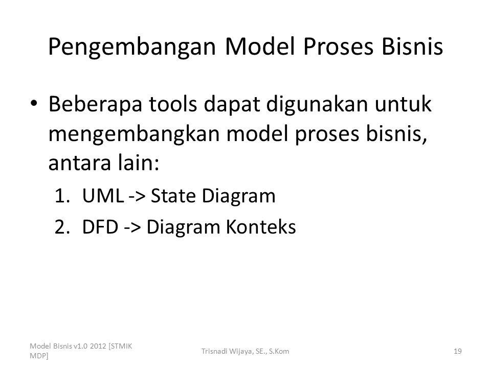 Pengembangan Model Proses Bisnis Beberapa tools dapat digunakan untuk mengembangkan model proses bisnis, antara lain: 1.UML -> State Diagram 2.DFD ->