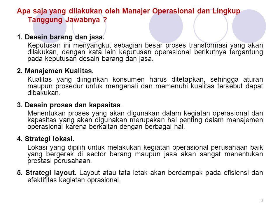 Apa saja yang dilakukan oleh Manajer Operasional dan Lingkup Tanggung Jawabnya ? 1. Desain barang dan jasa. Keputusan ini menyangkut sebagian besar pr
