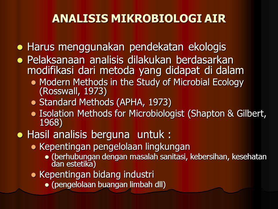 ANALISIS MIKROBIOLOGI AIR Harus menggunakan pendekatan ekologis Harus menggunakan pendekatan ekologis Pelaksanaan analisis dilakukan berdasarkan modif