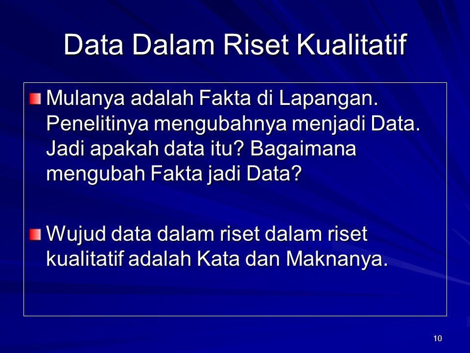 10 Data Dalam Riset Kualitatif Mulanya adalah Fakta di Lapangan. Penelitinya mengubahnya menjadi Data. Jadi apakah data itu? Bagaimana mengubah Fakta