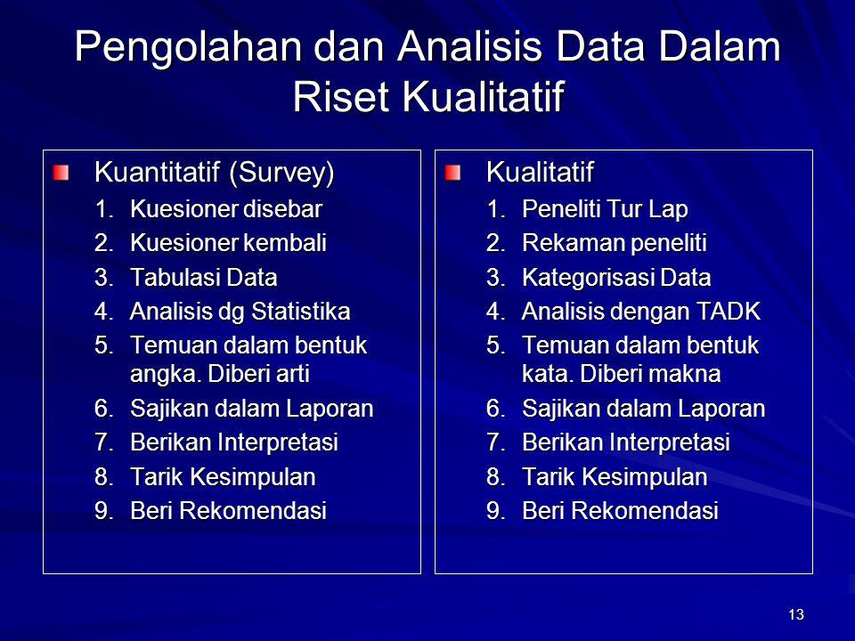 13 Pengolahan dan Analisis Data Dalam Riset Kualitatif Kuantitatif (Survey) 1.Kuesioner disebar 2.Kuesioner kembali 3.Tabulasi Data 4.Analisis dg Stat