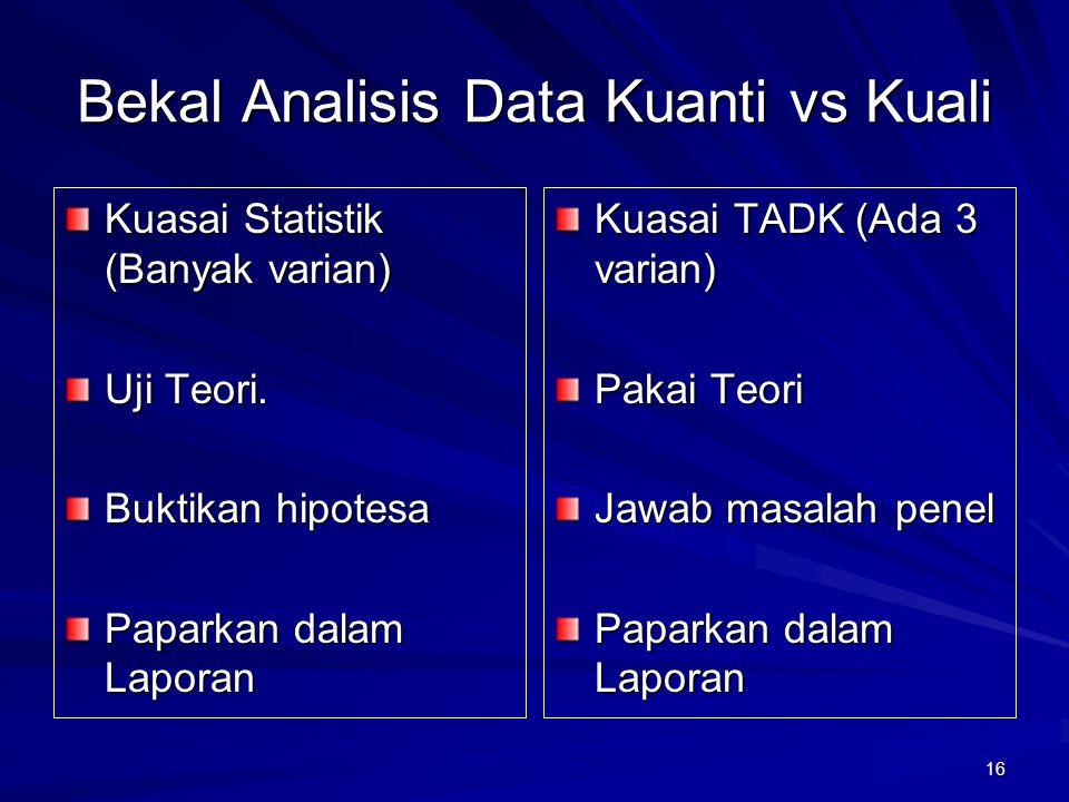 16 Bekal Analisis Data Kuanti vs Kuali Kuasai Statistik (Banyak varian) Uji Teori. Buktikan hipotesa Paparkan dalam Laporan Kuasai TADK (Ada 3 varian)