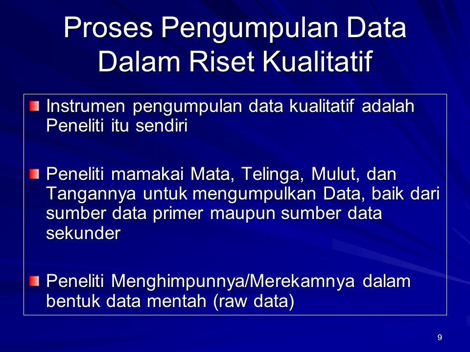 9 Proses Pengumpulan Data Dalam Riset Kualitatif Instrumen pengumpulan data kualitatif adalah Peneliti itu sendiri Peneliti mamakai Mata, Telinga, Mul