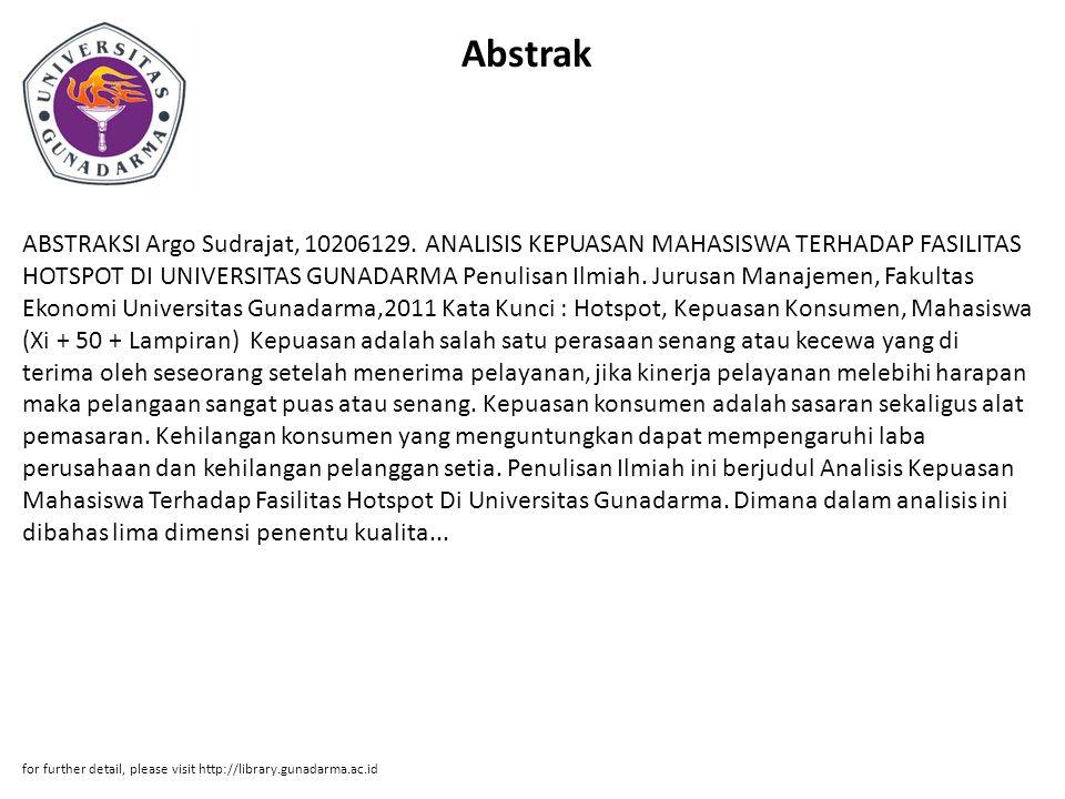 Abstrak ABSTRAKSI Argo Sudrajat, 10206129.