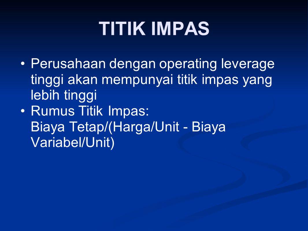 TITIK IMPAS Perusahaan dengan operating leverage tinggi akan mempunyai titik impas yang lebih tinggi Rumus Titik Impas: Biaya Tetap/(Harga/Unit ‑ Biaya Variabel/Unit)