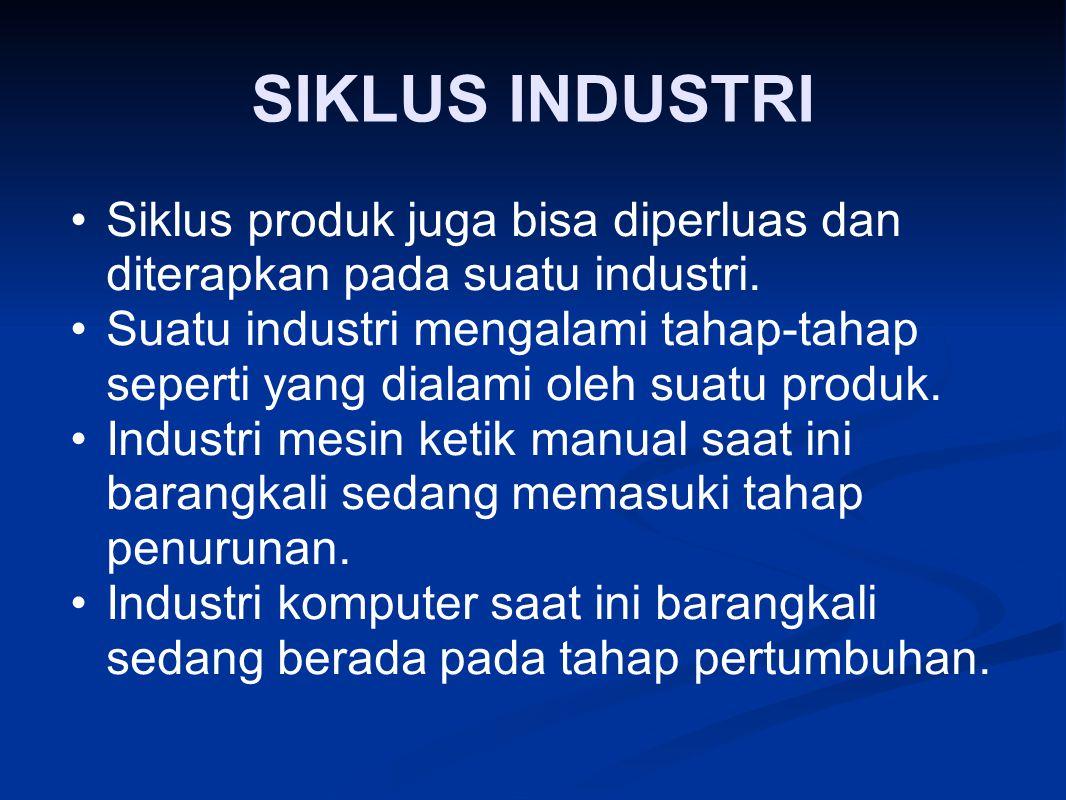 SIKLUS INDUSTRI Siklus produk juga bisa diperluas dan diterapkan pada suatu industri. Suatu industri mengalami tahap ‑ tahap seperti yang dialami oleh
