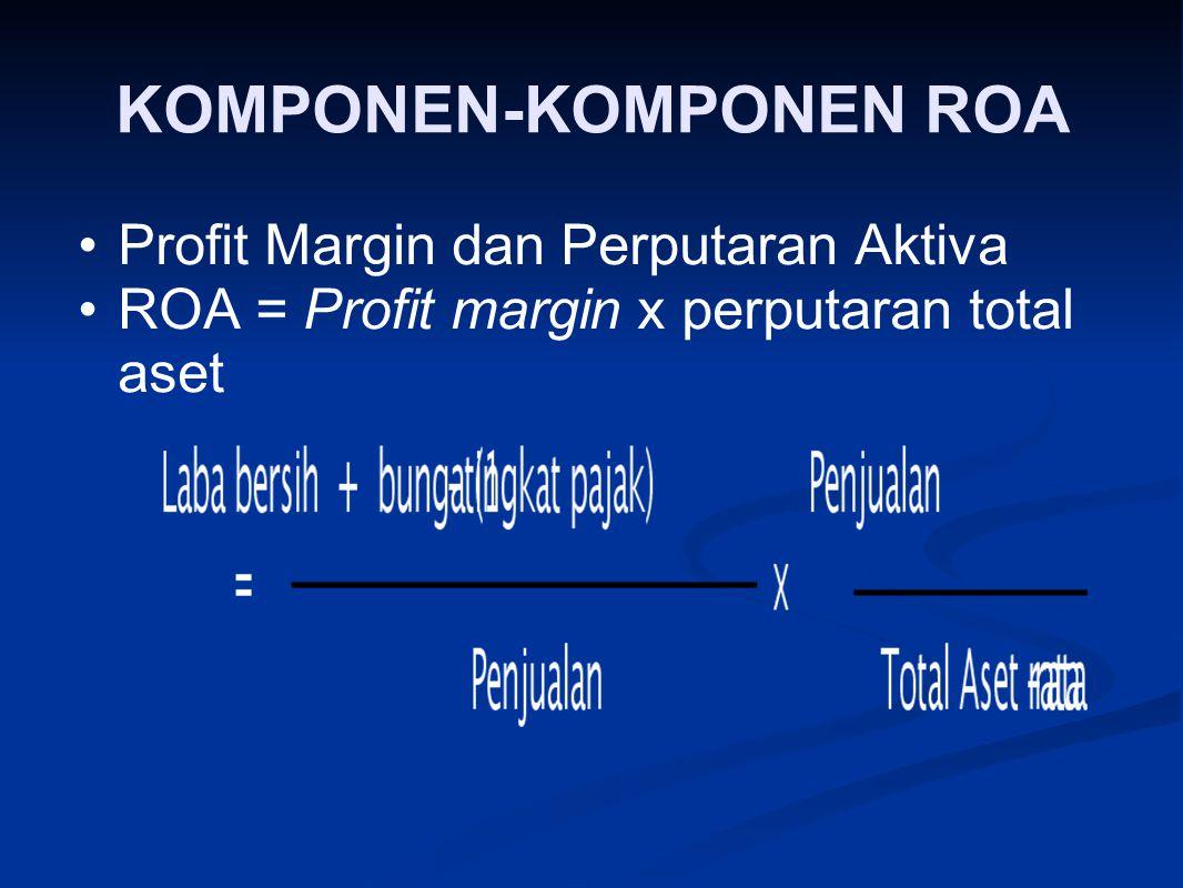 KOMPONEN ‑ KOMPONEN ROA Profit Margin dan Perputaran Aktiva ROA = Profit margin x perputaran total aset