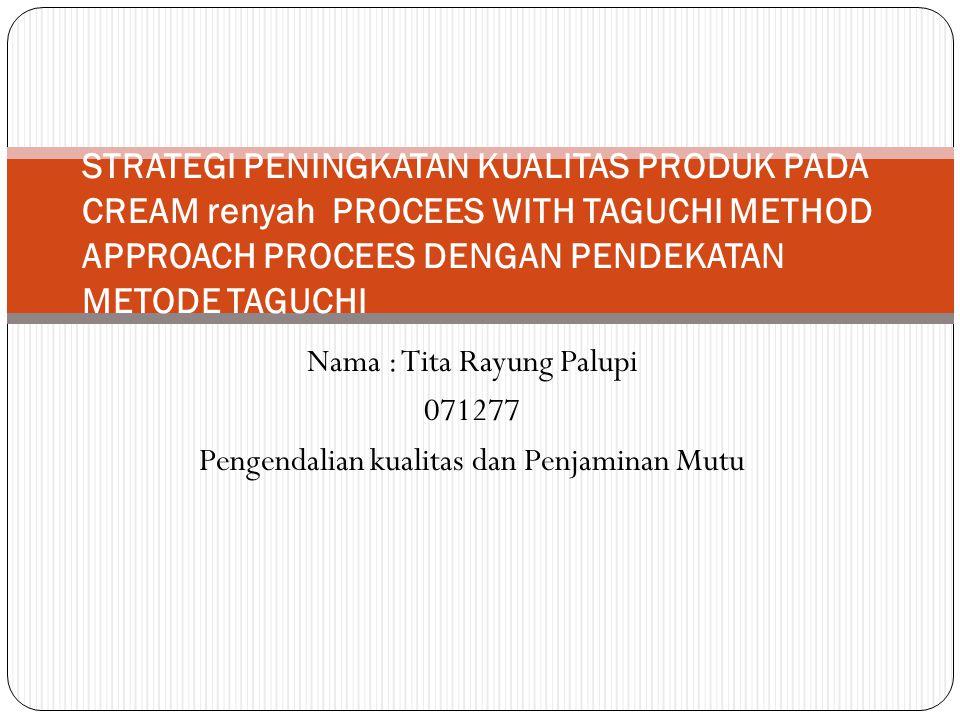 Nama : Tita Rayung Palupi 071277 Pengendalian kualitas dan Penjaminan Mutu STRATEGI PENINGKATAN KUALITAS PRODUK PADA CREAM renyah PROCEES WITH TAGUCHI