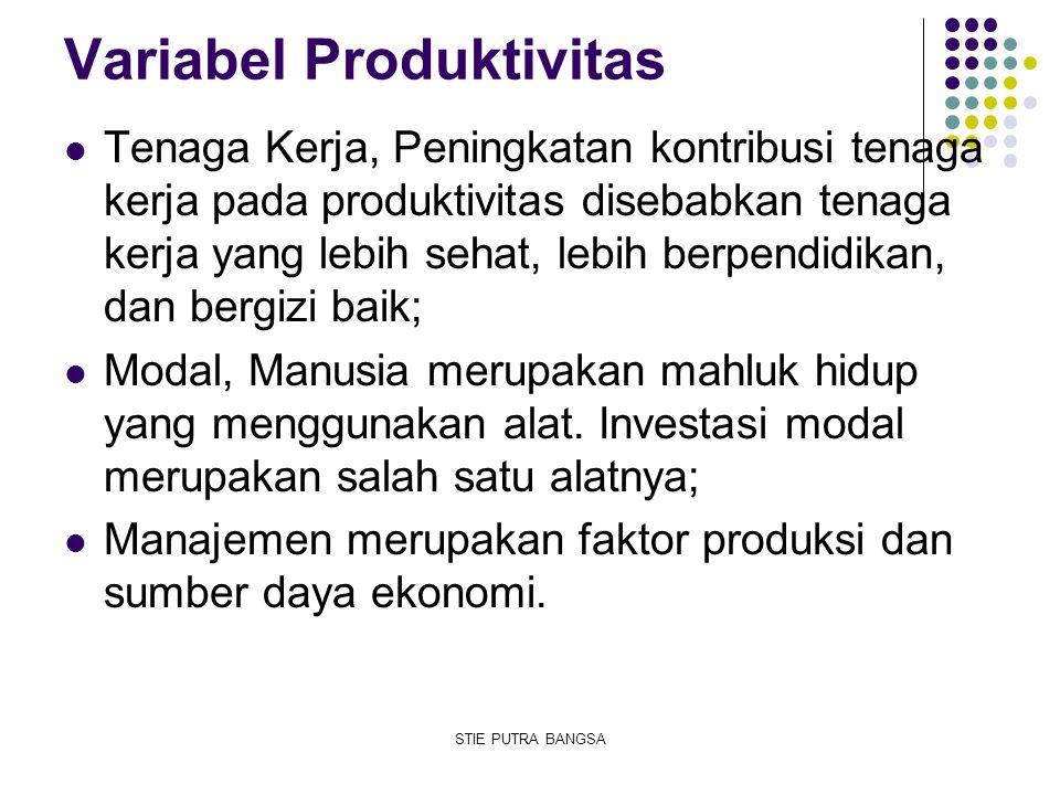 Variabel Produktivitas Tenaga Kerja, Peningkatan kontribusi tenaga kerja pada produktivitas disebabkan tenaga kerja yang lebih sehat, lebih berpendidi
