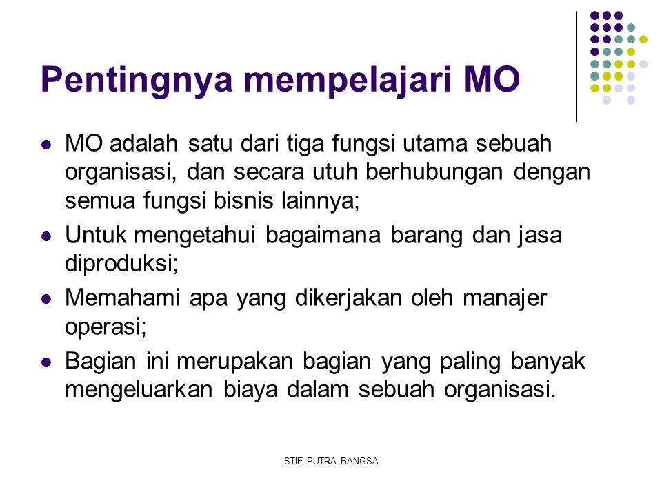 Pentingnya mempelajari MO MO adalah satu dari tiga fungsi utama sebuah organisasi, dan secara utuh berhubungan dengan semua fungsi bisnis lainnya; Unt