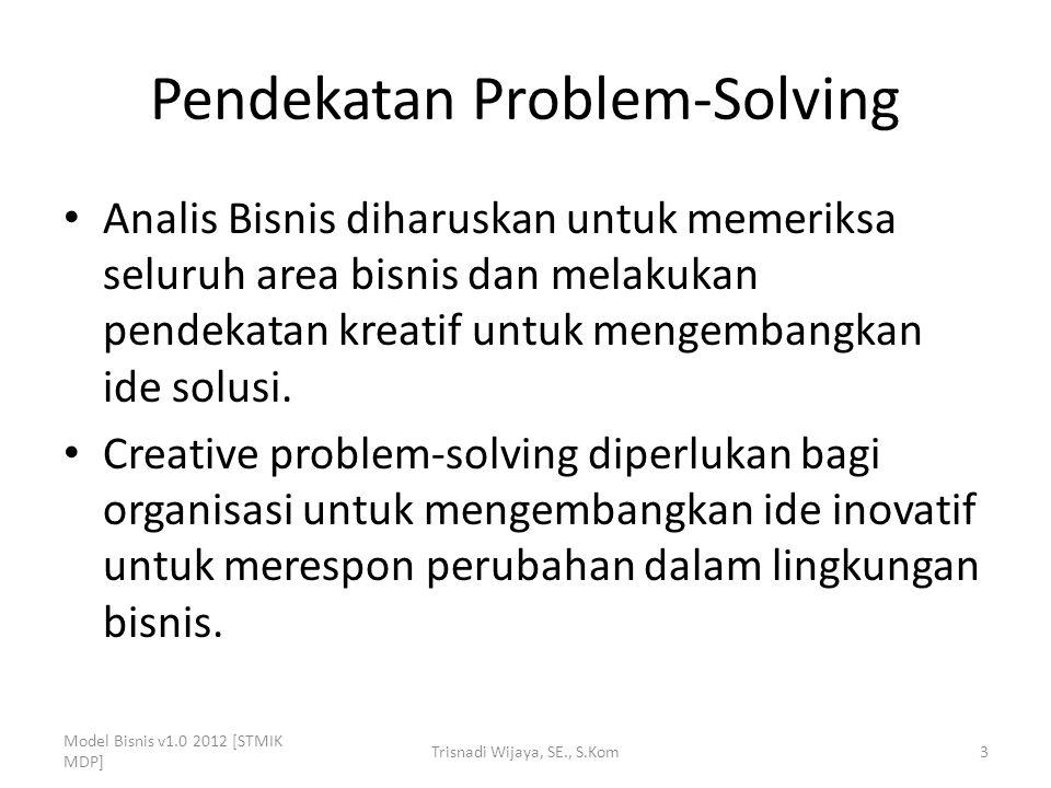 Pendekatan Problem-Solving Analis Bisnis diharuskan untuk memeriksa seluruh area bisnis dan melakukan pendekatan kreatif untuk mengembangkan ide solus
