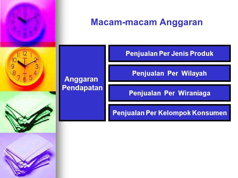 Macam-macam Anggaran Anggaran Pendapatan Penjualan Per Jenis Produk Penjualan Per Wilayah Penjualan Per Wiraniaga Penjualan Per Kelompok Konsumen