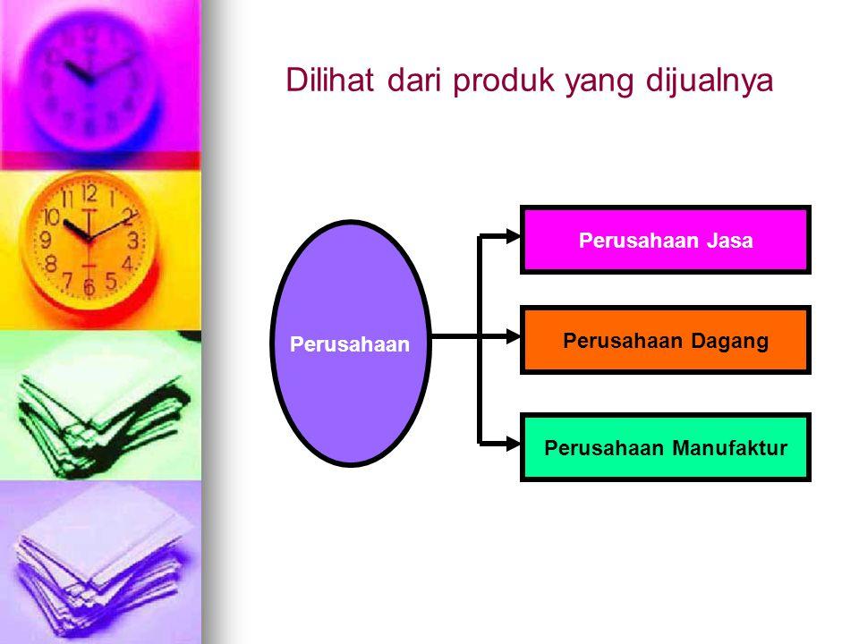Dilihat dari produk yang dijualnya Perusahaan Perusahaan Jasa Perusahaan Dagang Perusahaan Manufaktur