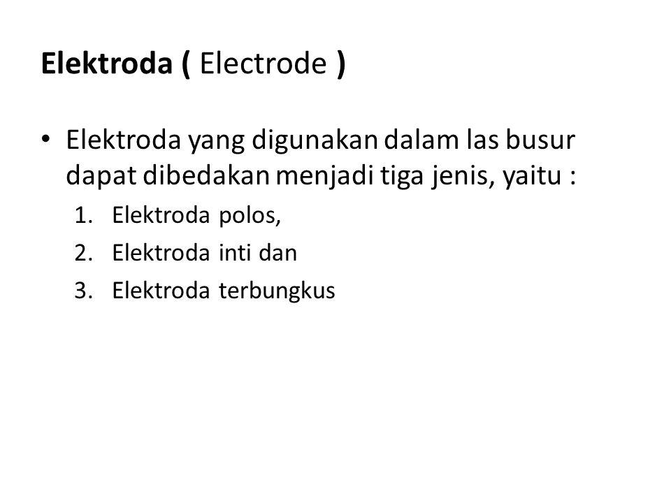 Elektroda ( Electrode ) Elektroda yang digunakan dalam las busur dapat dibedakan menjadi tiga jenis, yaitu : 1.Elektroda polos, 2.Elektroda inti dan 3