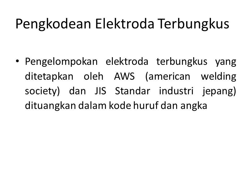 Pengkodean Elektroda Terbungkus Pengelompokan elektroda terbungkus yang ditetapkan oleh AWS (american welding society) dan JIS Standar industri jepang