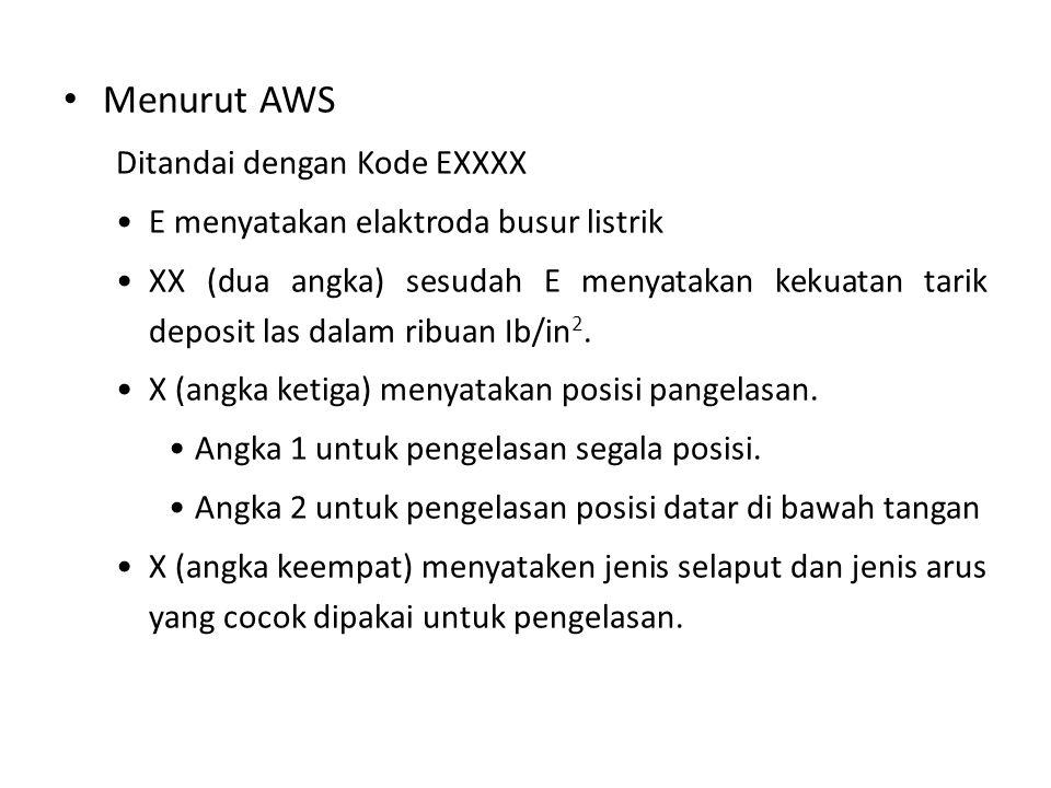 Menurut AWS Ditandai dengan Kode EXXXX E menyatakan elaktroda busur listrik XX (dua angka) sesudah E menyatakan kekuatan tarik deposit las dalam ribua