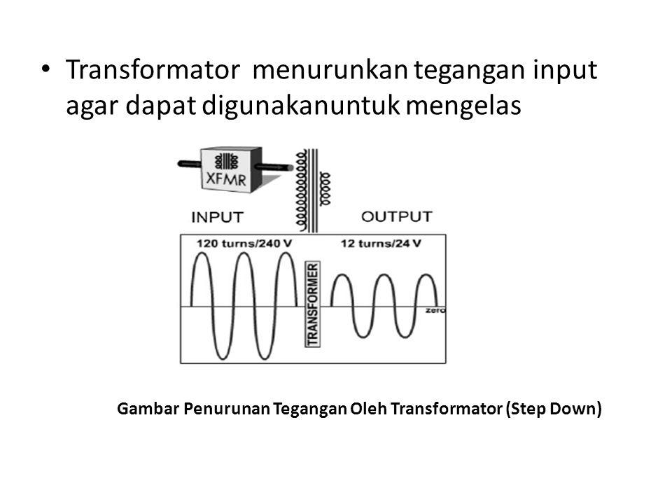 Rectifier (dioda) digunakan untuk menyearahkan tegangan output transformator (AC ke DC).
